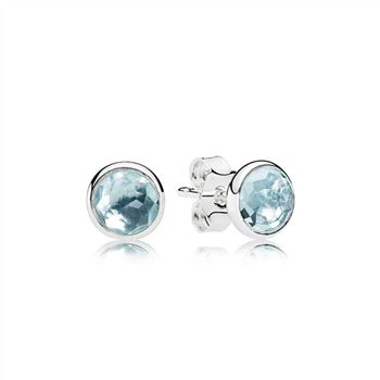 Pandora March Droplets Stud Earrings, Aqua Blue Crystal 290738NAB