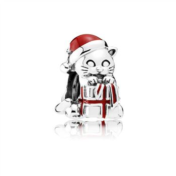 Pandora Christmas Kitten Charm, Berry Red Enamel 792007EN39