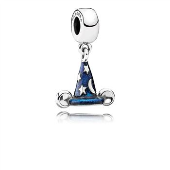 Pandora Disney Mickey sorcerer hat silver dangle with blue enamel 791466EN64