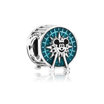 Pandora Disney Mickey Fun Wheel silver charm with blue and black enamel 791560ENMX