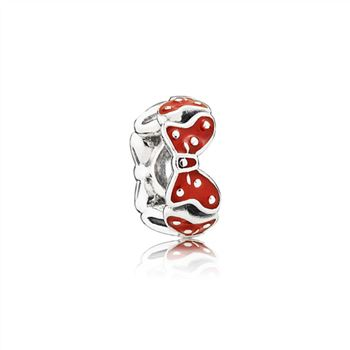 Pandora Disney Minnie bow silver spacer with red enamel 791582EN09