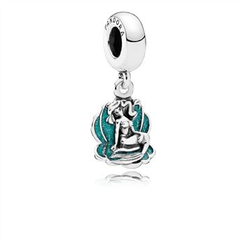 Pandora Disney, Ariel & Sea Shell Dangle Charm, Glittery Seafoam Green Enamel 791895EN111