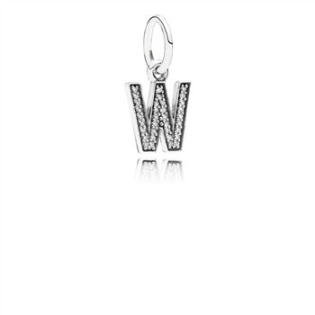 Pandora Letter W Dangle Charm, Clear CZ 791335CZ