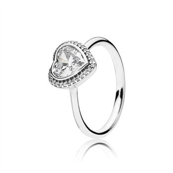 Pandora Sparkling Love Heart Ring, Clear CZ 190929CZ