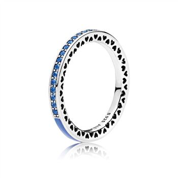 Pandora Radiant Hearts of PANDORA Ring, Princess Blue Enamel & Royal Blue Crystals 191011NCB