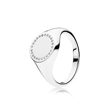 Pandora Circle Signet Ring, Clear CZ 191041CZ