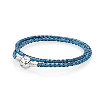 Pandora Mixed Blue Woven Double-Leather Charm Bracelet 590747CBMX-D