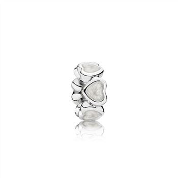 Pandora Heart silver spacer with silver enamel 791775EN23