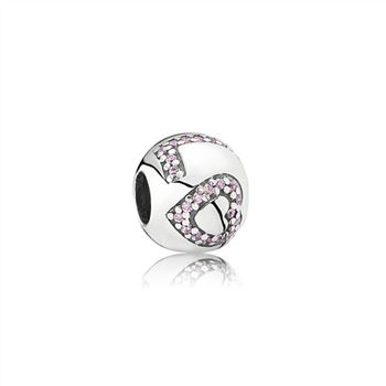 Pandora Surrounded By Love Charm, Pink CZ 791196PCZ