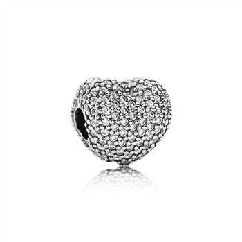 Pandora Heart pave silver clip with cubic zirconia 791427CZ